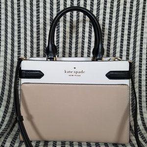 Kate Spade staci medium satchel warm beige black